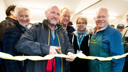 Councillor Geoff Pook, East Devon Cllr for Beer & Branscombe cuts the ribbon to officially open the