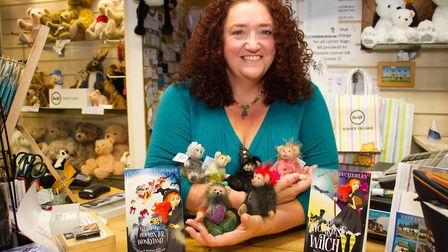 Jeannie Wycherley with her bears that have been made of Jaennie's book characters. Ref shs 44 19TI 3