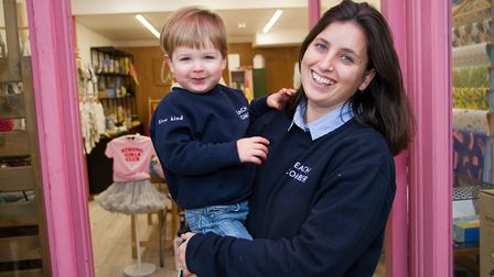 Polly McLachlan of Crane and Kind with her son Sidney celebrating the business's first birthday. Ref