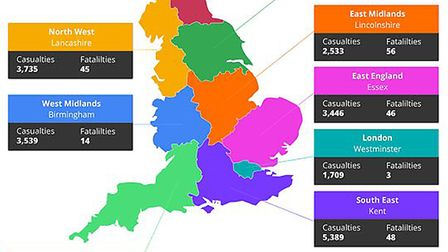 A map which includes the data of the number of road traffic collisions across the UK. Picture: AMT