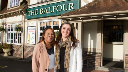 Victoria Davis and Deborah Bennett outside The Balfour Arms. Ref shh 46 19TI 4017. Picture: Terry If