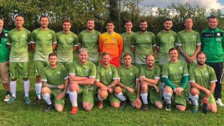 Otterton in their new team kit ahead of their Devon Senior Cup win over Newton St Cyres. Picture OTT