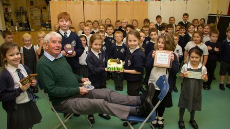 Ray Collins retires from volunteering at Sidmouth Primary School. Ref shs 46 19TI 4211. Picture: Ter