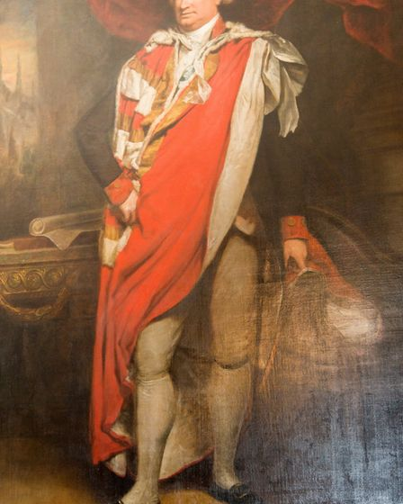 The prized portrait of Lord Cornwallis, presented to the first Baronet when he left India, survived