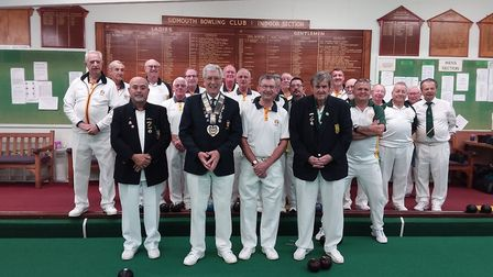 Sidmouth and Devon County players before their recent meeting. Front row (left to right) Mousa Al-Ko
