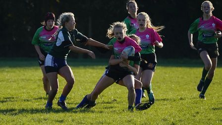 Action from the Sidmouth U15 girls draw with Kingsbridge. Picture DOMINIC FRASER