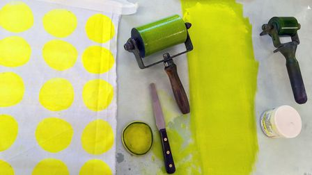 Non-toxic ink and lino priniting equipment. Picture: Karen Bowskill