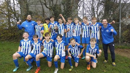 OSM U14s after their Devon Cup win over Marine Academy in Plymouth. Picture STEPHEN UPSHER