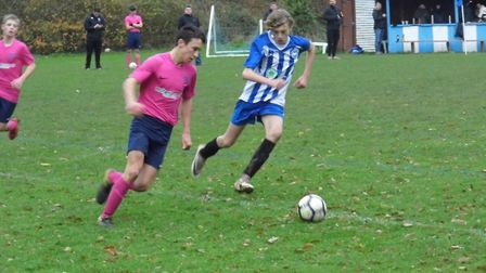 Seb Copp in action for Ottery U14s during their cup meeting with Exeter Panthers. Picture STEPHEN UP