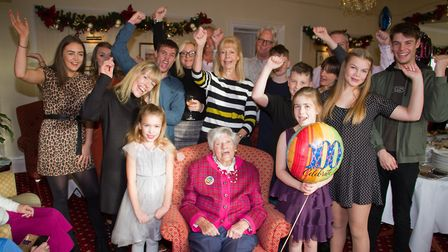 Frances Meek celebrates her 100th birthday with family and friends. Ref shs 49 19TI 5487. Picture: T