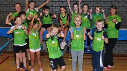 The Sidmouth Running Club juniors giving the thumbs up. Picture TONY VELTEROP