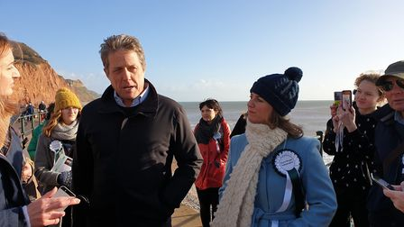 Hugh Grant in Sidmouth with independent parliamentary candidate Claire Wright. Picture: Terry Ife