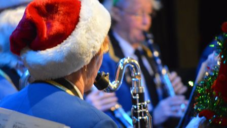 Exmouth Town Band, performing in festive headgear. Picture: Exmouth Town Band