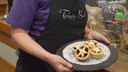 Liz White, of Tickety-Boo, with a plate of mince pies. Picture: Sue Cade