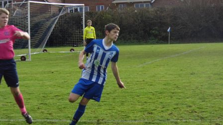 Ottery St Mary U14s player Jake Blackmore who was the Man of the Match in the Otters win over Exeter