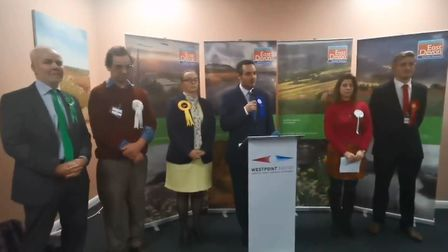 East Devon MP Simon Jupp makes his speach after being successfully elected. Picture: Beth Sharp