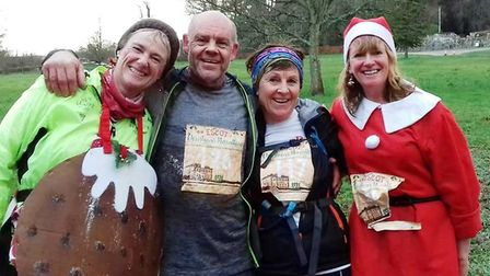 The fabulous four after the Sunday Escot Marathon, from the right was Jo Earlam, Paul Williamson, Sa