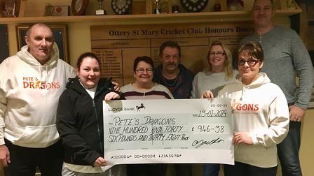 Gemma Youlden raised £946 for Pete's Dragons by staging a New Year's Eve party at Ottery Cricket Clu