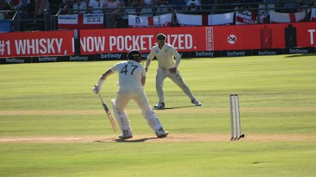 Dom Bess looks behind to see the ball, bowled by new Somerset team mate Vernon Philander, caught to