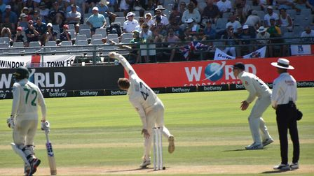 Dom Bess bowling in the frst innings of the 2nd Test in Cape Town. Picture: CHRISTOPHER DEAN