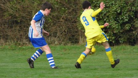 Freddie Clarke in action for Ottery St Mary U14s during the win over Okehampton. Picture: STEPHEN UP