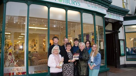Potburys staff with the prize for Best Store Window from Alfie Crick, Katie Gilbert, Mel Gater and E