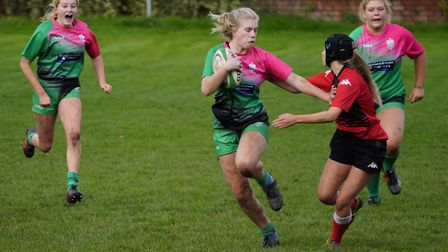 Sidmouth U18 girls action. Picture DOMINIC FRASER