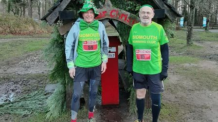Terry Bewes (left) and David Skinner dressed ready to take part in the Haldon Jingle Bell Run. Pictu