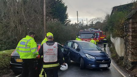 Two people had to be extracted from a vehicle following a collision in Sidbury. Picture: Sidmouth Fi