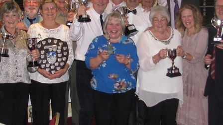 Prize winners at the Ottery St Mart Bowls Club 2019 awards evening held at the Tumbling Weir Hotel,