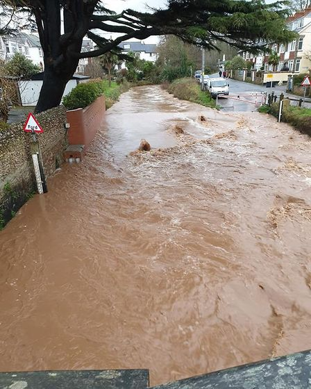 Water streaming through the ford in Sidmouth. Picture: Louise Hennem