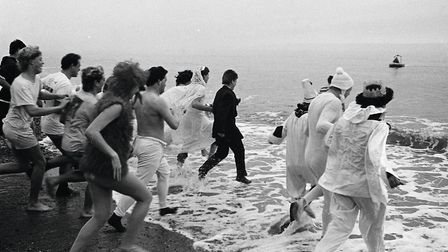 Swimmers take to the water for the annual Boxing Day swim in 1986. Picture: Sidmouth Herald archives