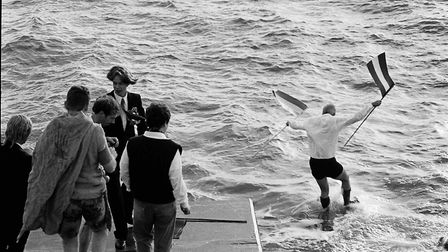 Taking the plunge in 1994. Picture: Sidmouth Herald archives