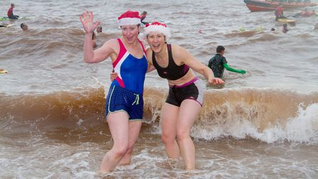 Two swimmers pose for the camera in 2017. Picture: Sidmouth Herald archives