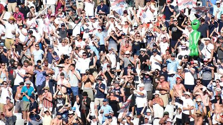 The Barmy Army, who numbered over 5,000 at Newlands to cheer on England in their victory in the seco