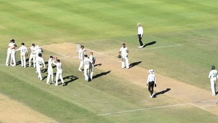 England player celebrate having taken the final South African wicket at the end of the second test i