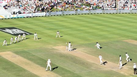 Ben Stokes bowls the final delivery of the 2nd test in Cape Town where England beat South Africa at