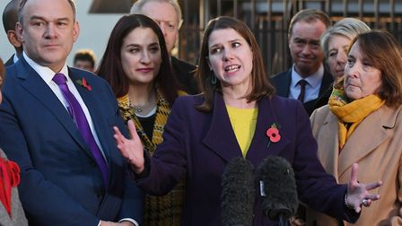 Leader of the Liberal Democrats Jo Swinson speaking to the media outside Houses of Parliament in Lon