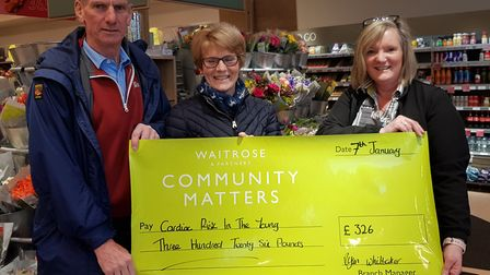 Robert and Marion Hayman with Julie Marish from Waitrose. Picture: Marion Hayman