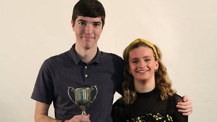 Ryan Traviss with the Bradfords cup for best overall contribution to the year group and Harriet Ward