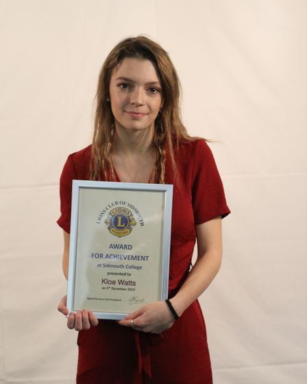 Kloe Watts with her Sidmouth Lions award for achievement and endeavour. Picture: Sidmouth College