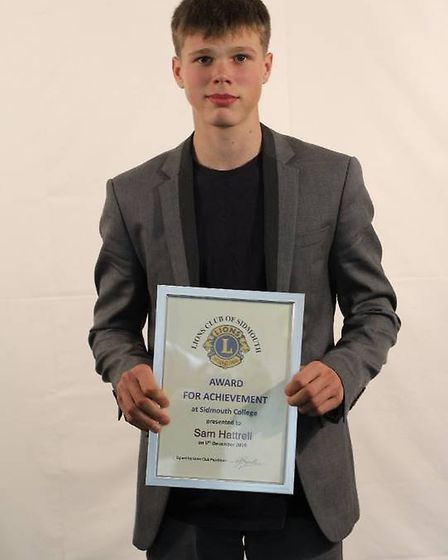 Sam Hattrell with he Sidmouth Lions award for endeavour and achievement. Picture: Sidmouth College