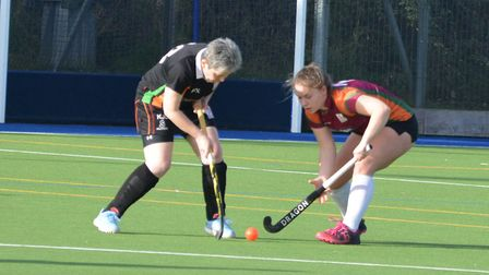Action from Sidmouth and Ottery Hockey Club ladies' firsts vs SOHC ladies seconds. Picture: Andrew
