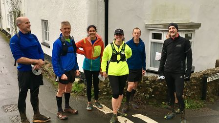The Sidmouth Running Club January group taking a break at Sidbury. Picture: SIDMOUTH RC