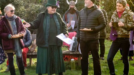 Briefing for the wassail cup bearers and the toast holders. Picture: Jeff Ridge