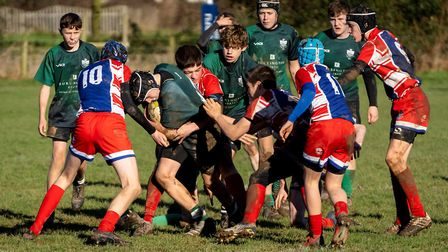 Action from the Sidmouth Under-15s Devon Cup success over Paington. Picture: SIDMOUTH RFC