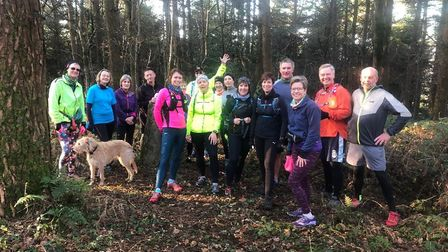 The Sidmouth Running Club, Sunday Four Trig training group having a short break after the steep clim