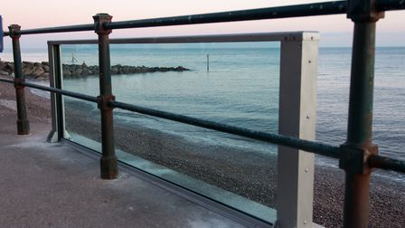 Testing of the new Sidmouth glass wall splash defence on the seafront. Picture: Alex Walton