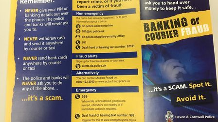 The police leaflet about the scam. Picture: Philippa Davies