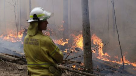 A firefighter keeps an eye on a controlled fire as they work at building a containment line at a wil